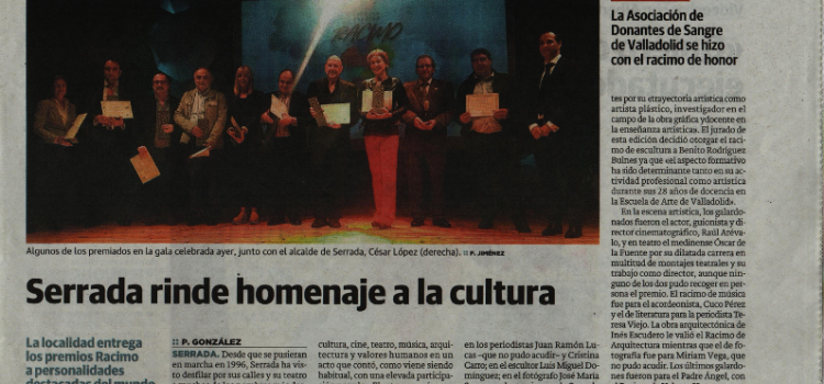 Premios Racimo 2017, Serrada 25 de mayo